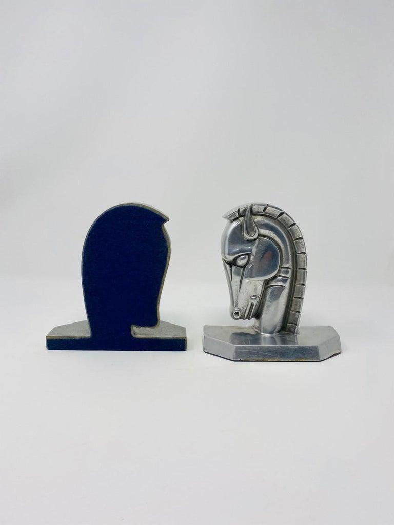 Mid-20th Century Vintage Art Deco Trojan Horse Head Bookends For Sale