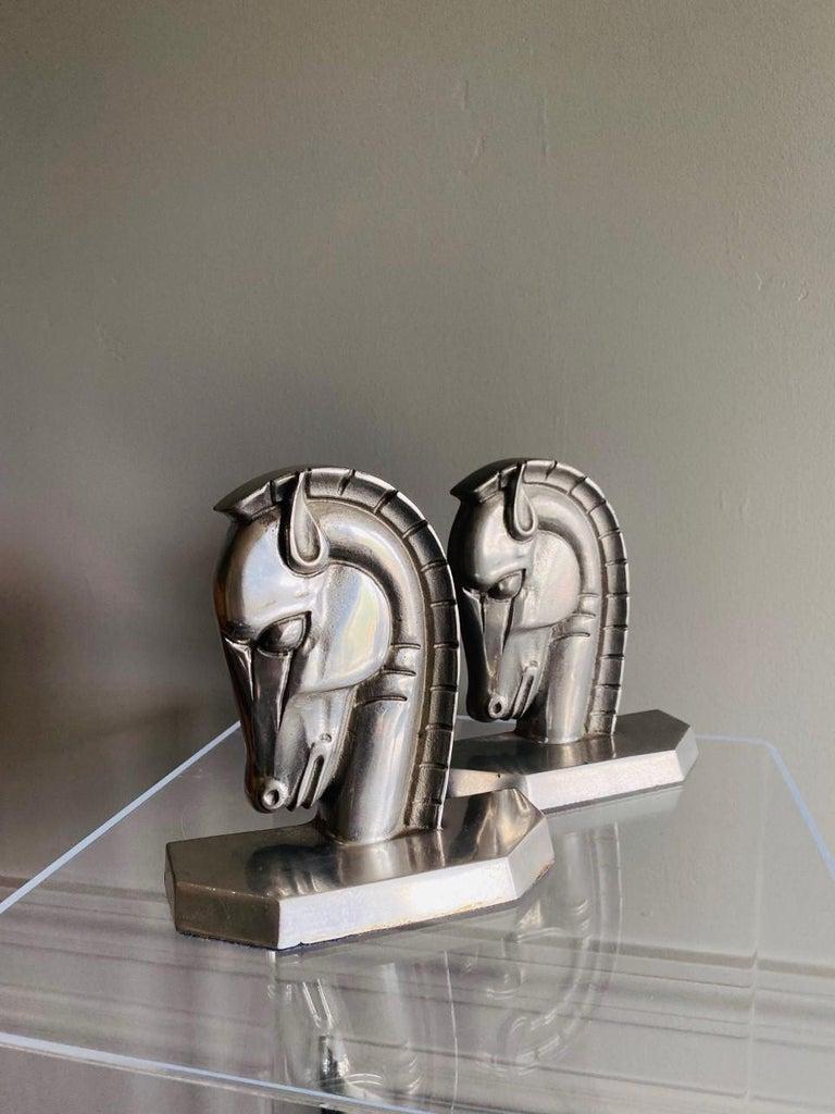 Vintage Art Deco Trojan Horse Head Bookends For Sale 2
