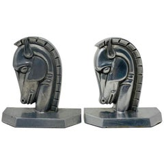 Vintage Art Deco Trojan Horse Head Bookends