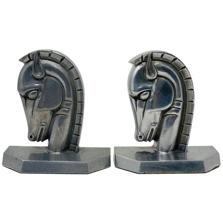 Vintage Art Deco Trojan Horse Head Bookends For Sale