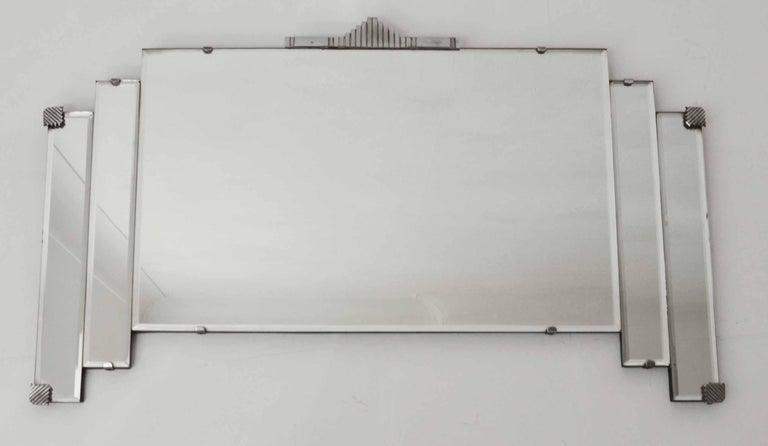 English Vintage Art Deco Wall Mirror With Chrome Hardware