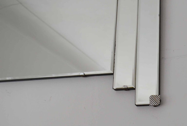 Beveled Vintage Art Deco Wall Mirror With Chrome Hardware