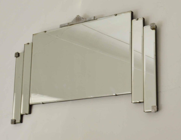Vintage Art Deco Wall Mirror With Chrome Hardware In Good Condition In St Annes, Lancashire