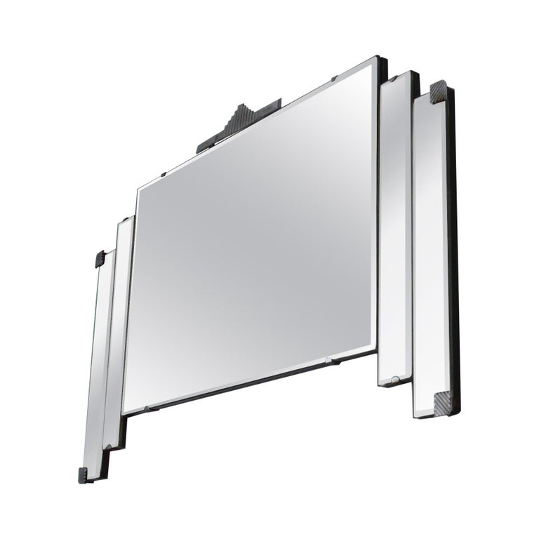 Vintage Art Deco Wall Mirror With Chrome Hardware