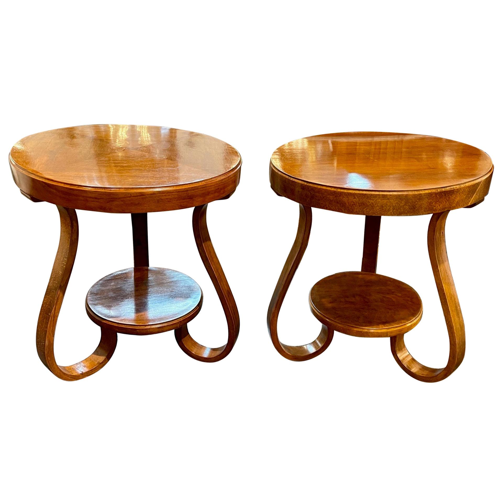 Vintage Art Deco Walnut Side Tables
