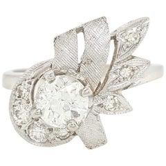 Vintage Art Deco White Gold Old European Diamond Ring, circa 1920s