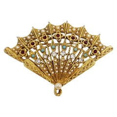 Vintage ART Gold Folding Fan Pin Brooch, with Faux Pearls and Jade Beads