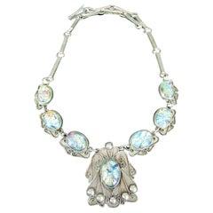 Vintage Art Nouveau Designer Foil Set Opal Sterling Silver Necklace Mexico
