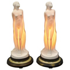 Vintage Art Nouveau French Style Ceramic Figural Woman Boudoir Table Lamps, Pair