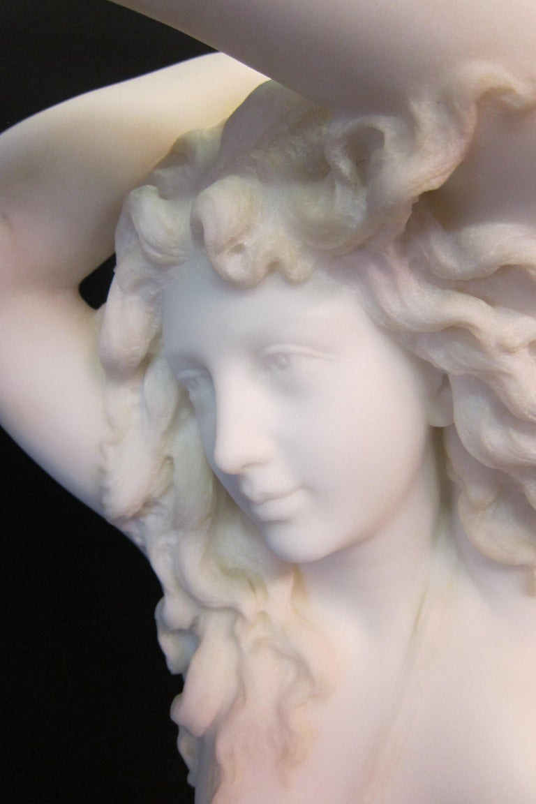 Hand-Carved Vintage Art Nouveau Marble Sculpture For Sale