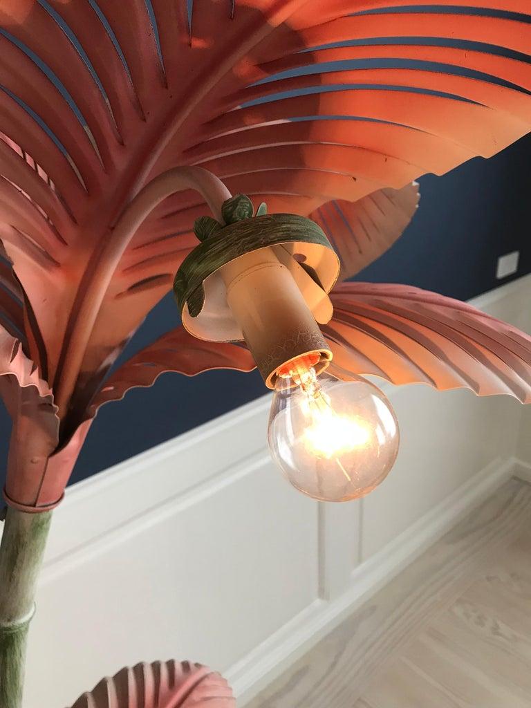 Painted Vintage Art Nouveau Palm Tree Floor Lamp, France, 1940s