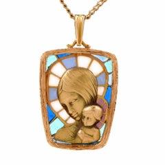 Art Nouveau Plique-à-Jour Enamel Madonna Child Portrait Pendant