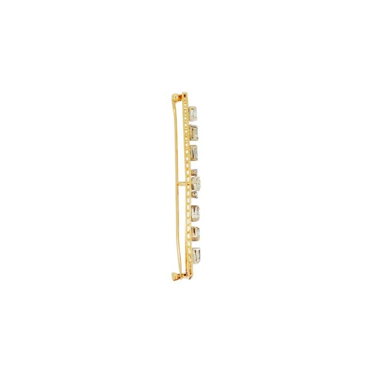 Old Mine Cut Vintage Art Nouveau Straight Bar Diamond Yellow Gold Brooch For Sale