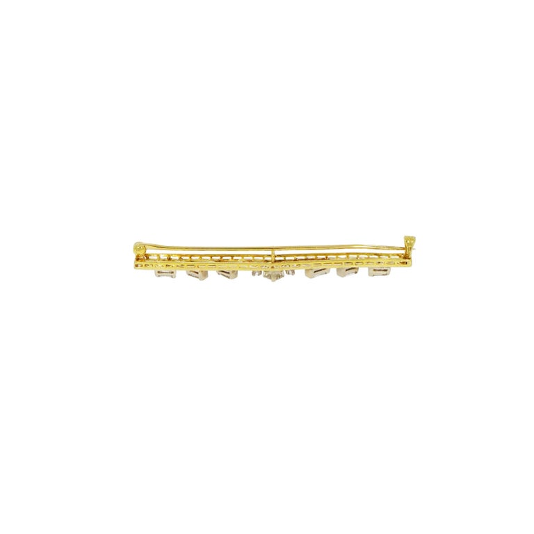 Vintage Art Nouveau Straight Bar Diamond Yellow Gold Brooch In Good Condition For Sale In Greenwich, CT