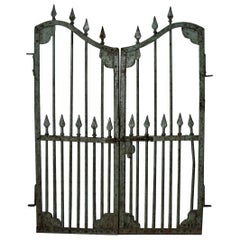 Vintage Art Nouveau Style Hand Forged Iron Gate from a Colonial Era Home