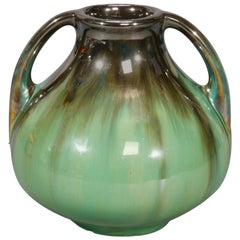 Vintage Art Pottery Mirrored Glaze Gourd Form Vase by Fulper, 20th Century