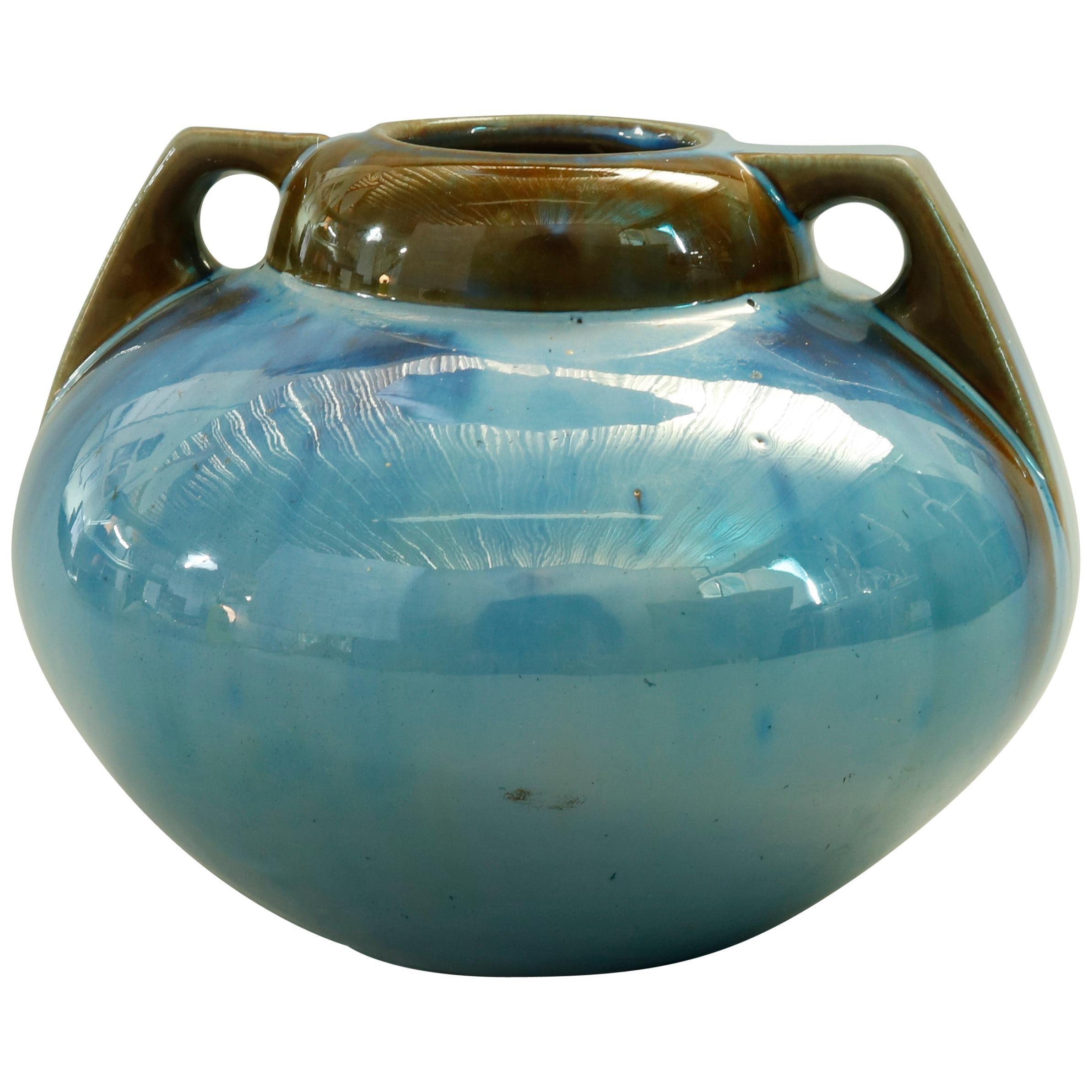 Vintage Art Pottery Mirrored Glaze Gourd Form Vase by Fulper, 20th Century