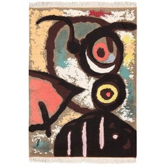 Vintage Art Rug Based On Joan Miro. Size: 4 ft 10 in x 3 ft 5 in