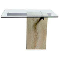 Vintage Artedi Marble and Glass Side Table