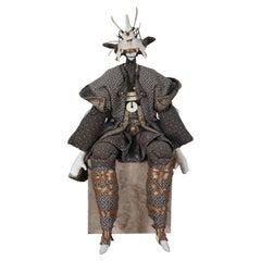 Vintage Artesian Japanese Samurai Warrior Musha Doll Figurine Chicken Bone