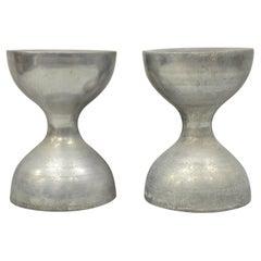 Vintage Arthur Court Cast Aluminum Metal Hourglass Stools Seats, a Pair 'A'