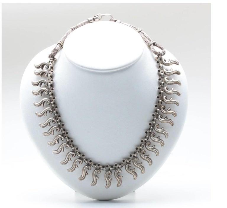 Vintage Artisan Sterling Silver Dangle Collar Necklace For Sale 1