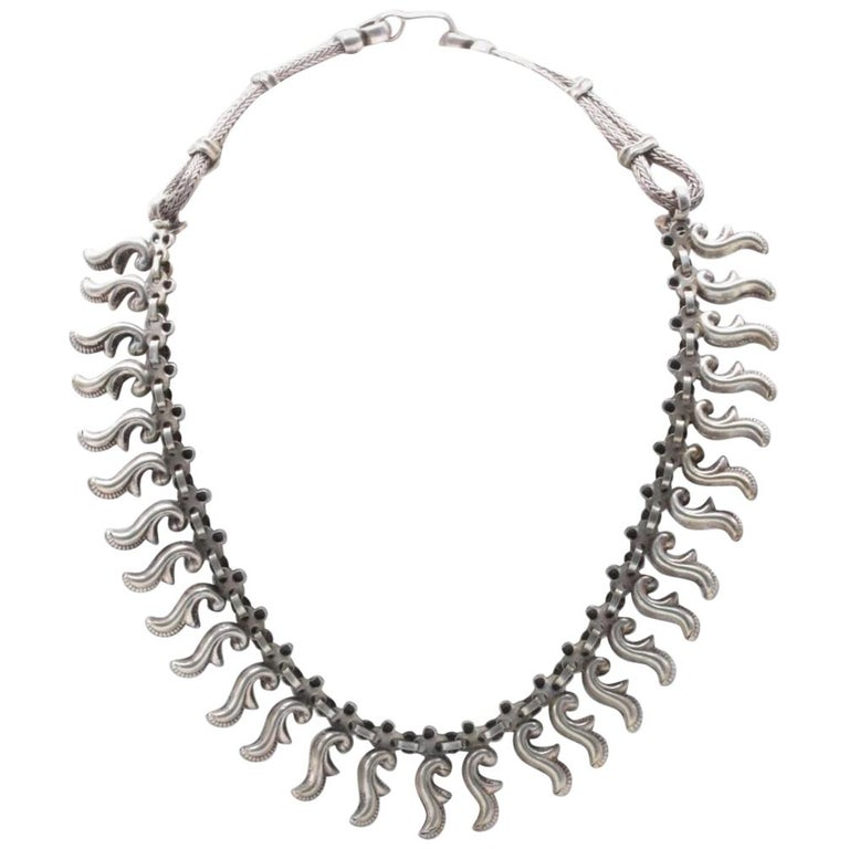 Vintage Artisan Sterling Silver Dangle Collar Necklace For Sale