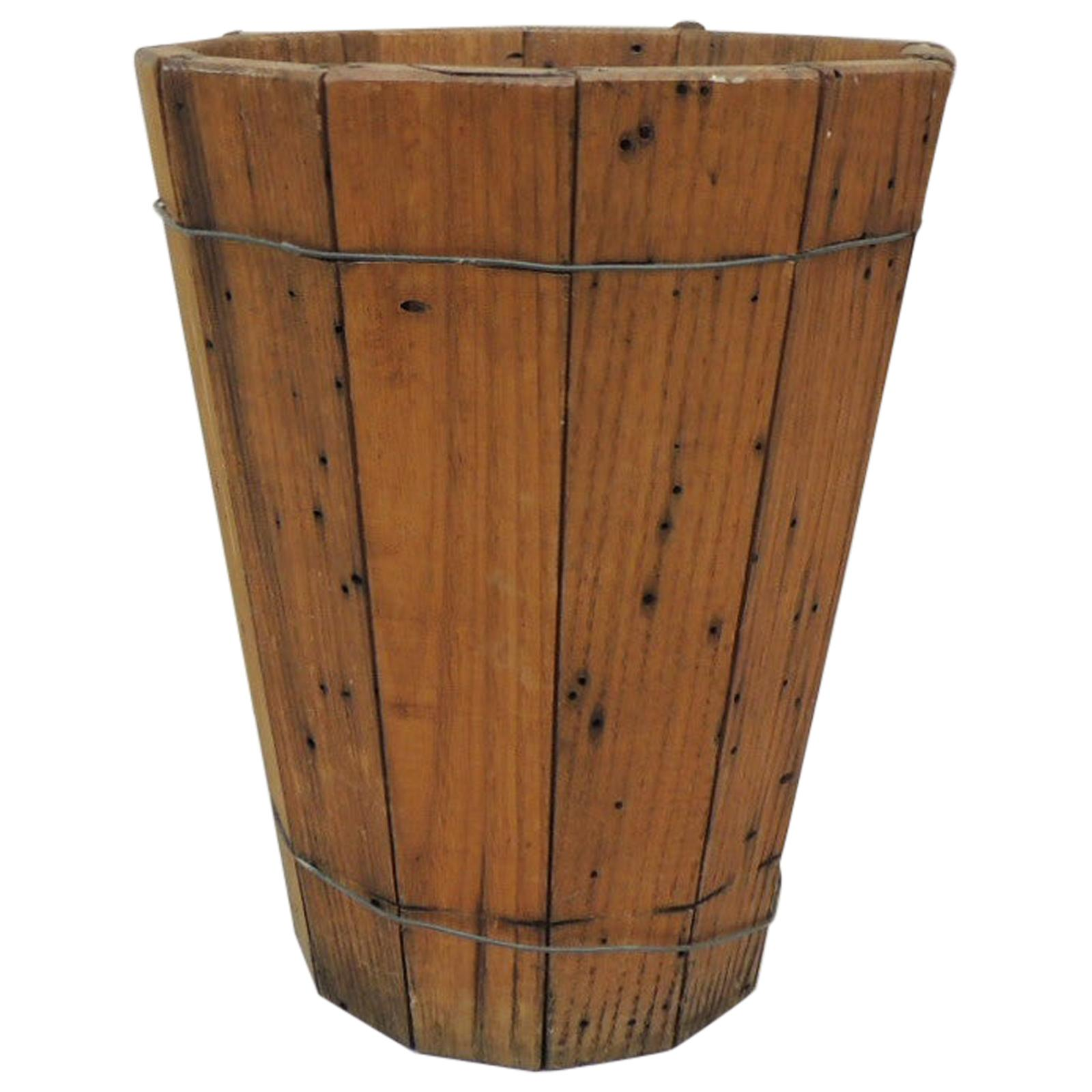 Vintage Artisanal Wood and Wire Barrel Style Wastebasket