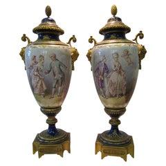 Vintage Artist Signed Sevres Urns