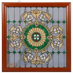 Vintage Arts & Crafts Style Jeweled Leaded Glass Window, 20th Century