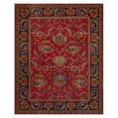 Vintage Arts & Crafts Botanic Red Background Wool Rug by Gavin Morton