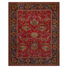 Vintage Arts & Crafts Carpet Designed by Gavin Morton in Brown, Red and Blue