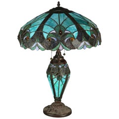 Vintage Arts & Crafts Leaded Slag and Jeweled Glass Tiffany Style Mosaic Lamp