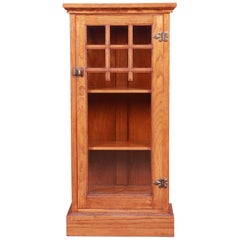 Vintage Arts & Crafts Oak Glass Front Bookcase Cabinet, circa 1920s