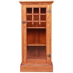 Vintage Arts & Crafts Oak Glass Front Bookcase Cabinet, circa 1920s