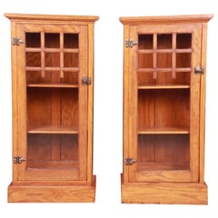 Vintage Arts & Crafts Oak Glass Front Bookcase Cabinets, circa 1920s