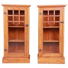 Vintage Arts & Crafts Oak Glass Front Bookcase Cabinets, circa 1920s
