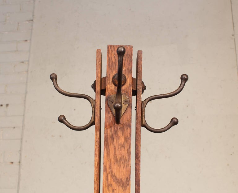 Vintage Arts And Crafts Style Wooden Coat Rack Or Stand At