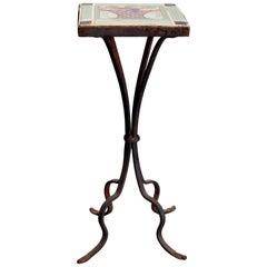 Vintage Arts & Crafts Yellin School Wrought Iron Tile Top Side Table, circa 1920