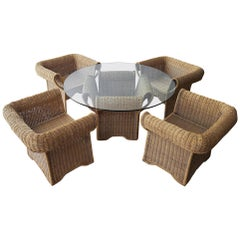 Vintage Arurog Wicker Dining Table and Chairs