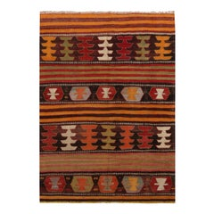 Vintage Aryon Golden Brown Wool Kilim Rug with Vibrant Accents