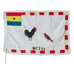 Vintage Asafo Flag in Cotton Appliqué Patterns by Fante People, Ghana, 1970's