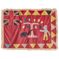 Vintage Asafo Flag in Cotton Appliqué Patterns, Ghana, 1940s