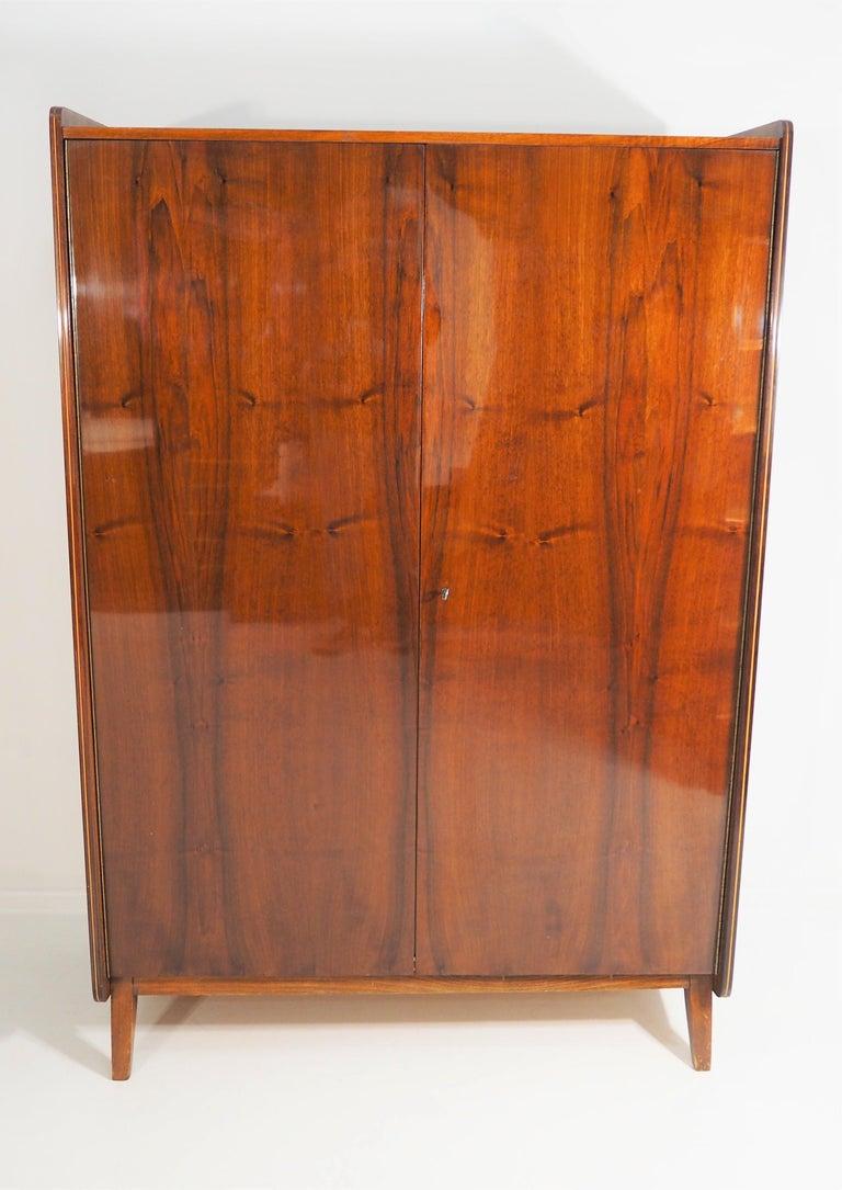 Late 20th Century Vintage Walnut Wardrobe Tatra, circa 1970s For Sale