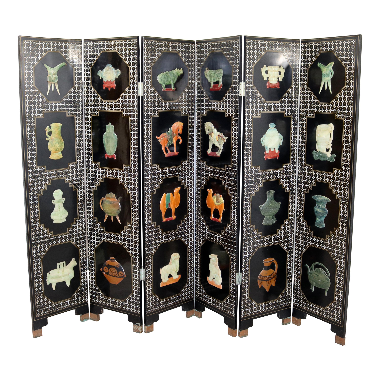 Vintage Asian Black Jade Motif 6 Panel Room Divider Screen, 1960s