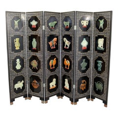 Vintage Asian Black Jade Motif 6 Panel Room Divider Screen, 1960s