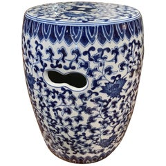 Vintage Asian Blue and White Painted Porcelain Garden Stool