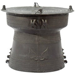 Vintage Asian Bronze Rain Drum Accent Table