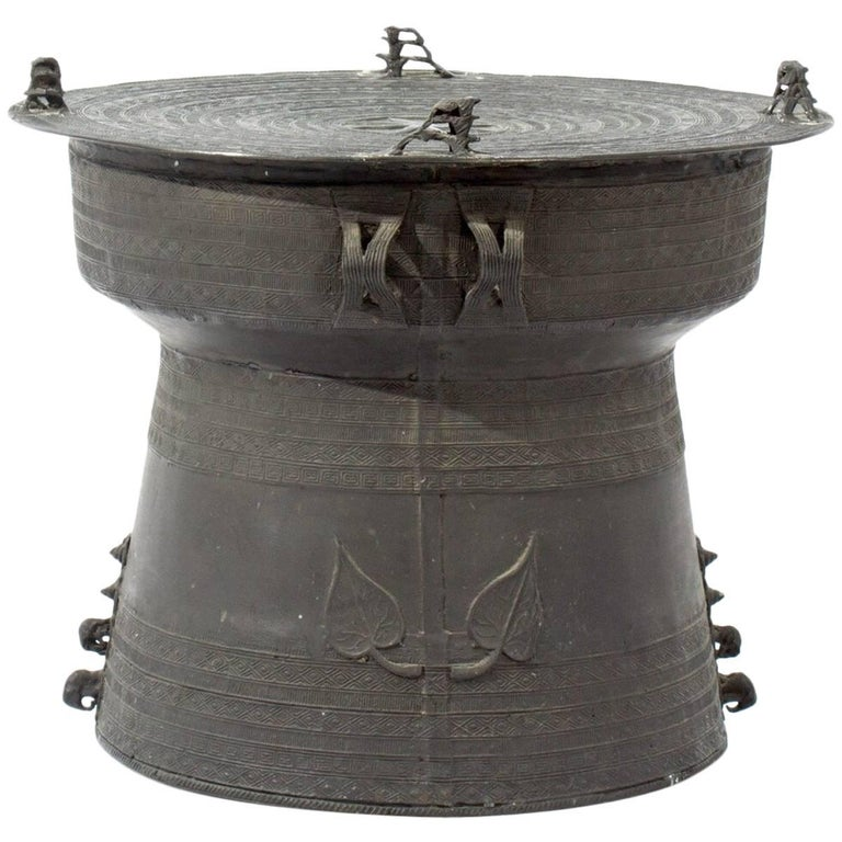 Vintage Asian Bronze Rain Drum Accent Table