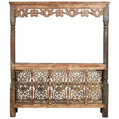 Vintage Asian Carved Bar or Counter with Inset Iron Panels